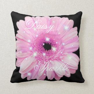 Pink Daisy Sparkle Throw Pillow