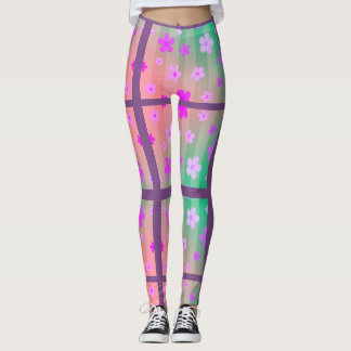 Pink Daisy Split Pattern Leggings