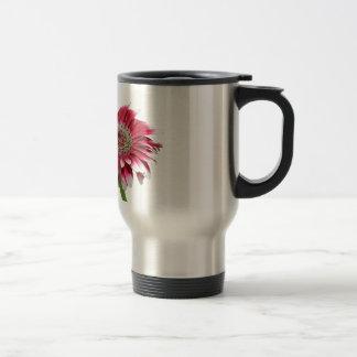 pink daisy stainless steel travel mug