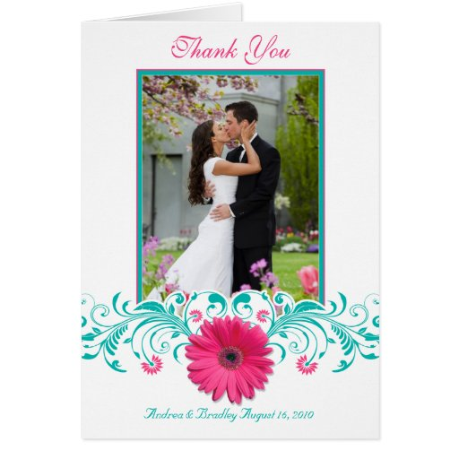 Pink Daisy Turquoise Floral Photo Thank You Greeting Card