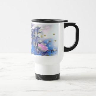 Pink Daisy with Blue Grass Design Travel Mug