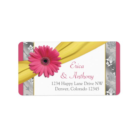 Pink Daisy Yellow Damask Wedding Address Labels