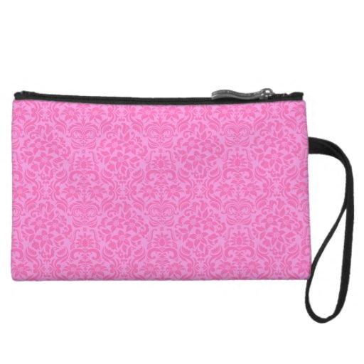 Pink Damask Accessory Clutch or Makeup Bag Wristlets
