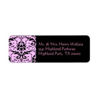 Pink Damask Address Labels