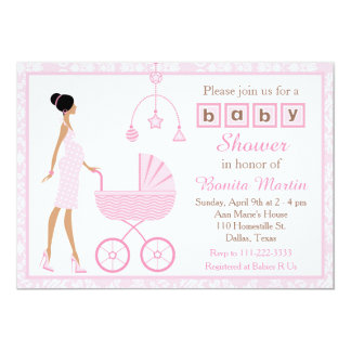 Pink Damask African American Girl Baby Shower Card