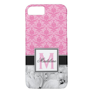 Pink /Damask and Marble Monongram Case-Mate iPhone Case
