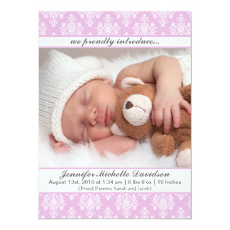 Pink Damask Baby Girl Birth Announcements