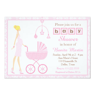Pink Damask Blonde Expecting Girl Baby Shower Card