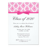 "Pink Damask Bow Graduation Announcement 5"" X 7"" Invitation Card"