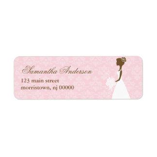 Pink Damask Bridal Shower Address Labels