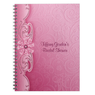 Pink Damask Bridal Shower Notebook