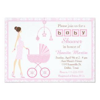 Pink Damask Brunette Expecting Girl Baby Shower Card