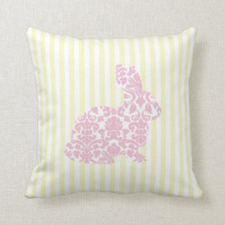 Pink Damask Bunny Rabbit on Yellow Stripes Throw Pillow