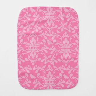 Pink Damask Burp Cloths