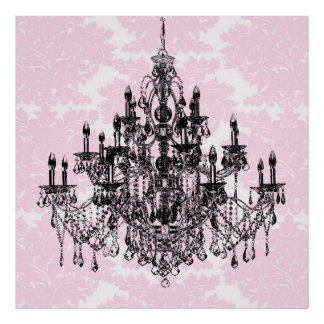 Pink Damask Chandelier Art Poster