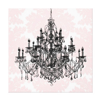 Pink Damask Chandelier Canvas Wall Art