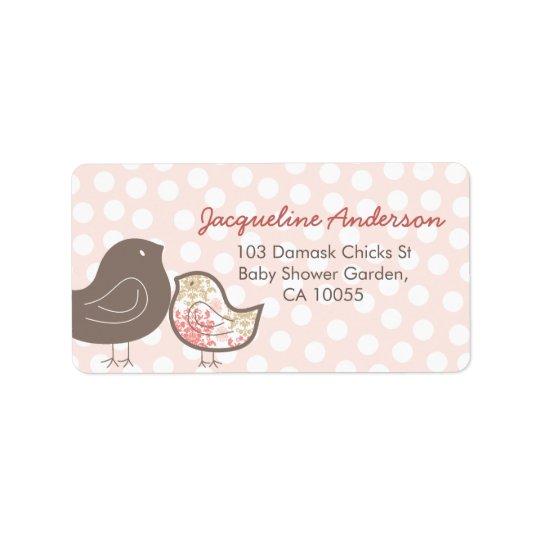 Pink Damask Chicks Girl Baby Shower Address Labels