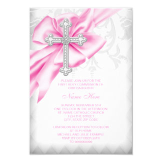 Pink Damask Cross First Communion Card