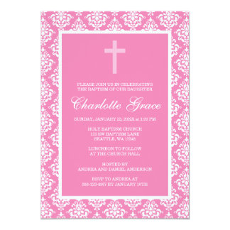 Pink Damask Cross Girl Baptism Christening Card