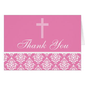 Pink Damask Cross Girl Baptism Thank You Card
