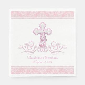 Pink Damask Cross Girls Baptism Communion Napkins Paper Napkin