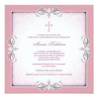Pink Damask Cross Girls Pink First Communion Announcement