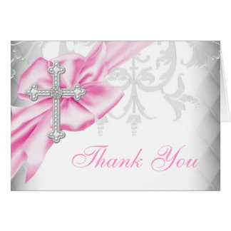 Pink Damask Cross Thank You Card