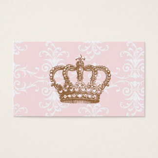 Pink Damask Crown Business Card