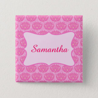 Pink Damask Custom Personalized Name Badge 2 Inch Square Button