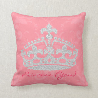 Pink Damask Diamond Princess Crown Pillow