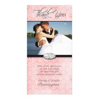 Pink damask diamond wedding thank you photocard customized photo card