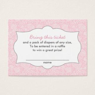 Pink Damask Diaper Raffle Tickets CUSTOMIZABLE