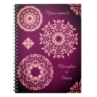 Pink damask doilies spiral notebook