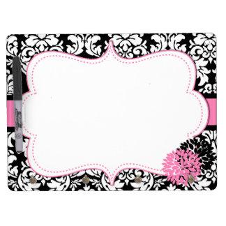 Pink Damask Dry Erase Board