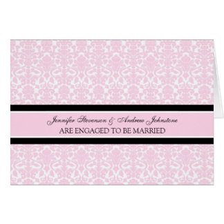 Pink Damask Engagement Announcement Card