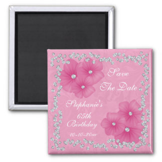 Pink Damask & Flowers 65th Birthday Square Magnet