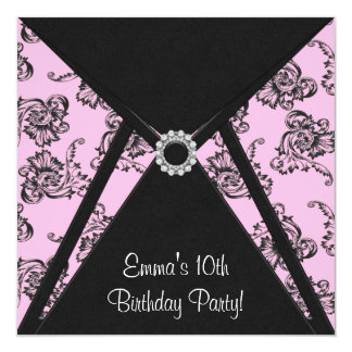 Pink Damask Girls 10th Birthday Party Invitation