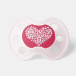 Pink Damask Heart - Valentine Baby Pacifiers