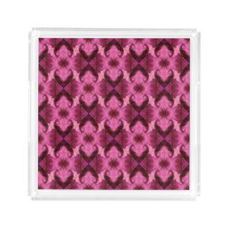 Pink Damask Hearts Acrylic Tray