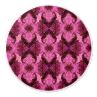 Pink Damask Hearts Ceramic Knob