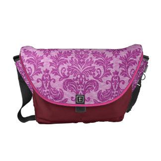 Pink Damask Messenger Bags