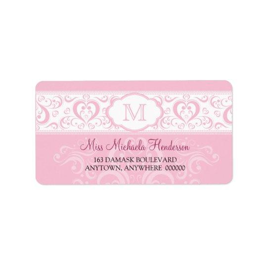 Pink Damask Monogram Address Label