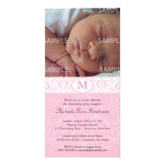 Pink Damask Monogram Baptism/Christening Photo Card