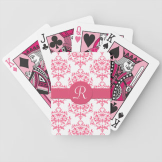 Pink Damask Monogram Playing Cards