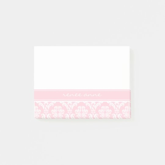 Pink Damask Monogram Post-it® Notes