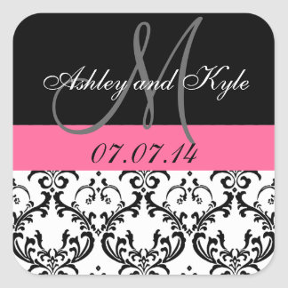 Pink Damask Monogram Save the Date Stickers