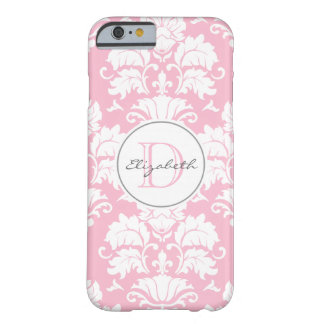 Pink Damask Monogrammed iPhone 6 Case