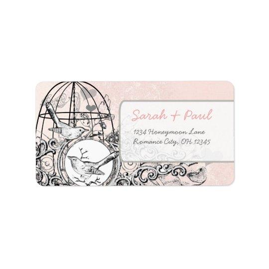 Pink Damask Musical Vintage Bird Cage Address Label
