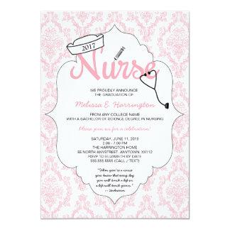 Pink Damask Nurse graduation pinning invite