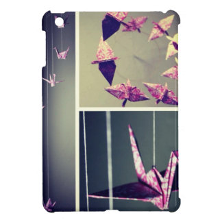 Pink damask origami crane spiral mobile iPad mini covers